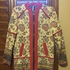 Free People floral mid-length reversible jacket